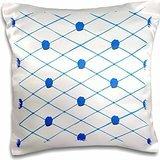 CherylsArt Flowers Art - Blue Criss Cross Diamond Pattern with Painted Blue Roses - 16x16 inch Pillow Case