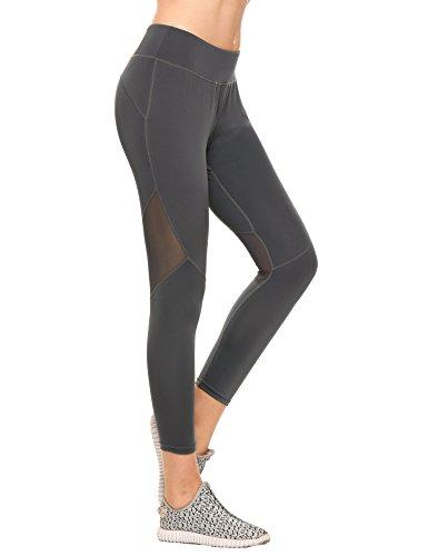 Swiftt Funktionstights Damen Sporthose Fitness Yogahose Leggings Hose 3/4 Länge Mittele Taille mit Bundtasche in Schwarz Grau Blau