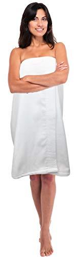 Consumable Depot Damen Body, 100% türkische Baumwolle, Waffelmuster mit verstellbarem Verschluss Women Cotton Wrap weiß - Weiße Türkische Handtücher