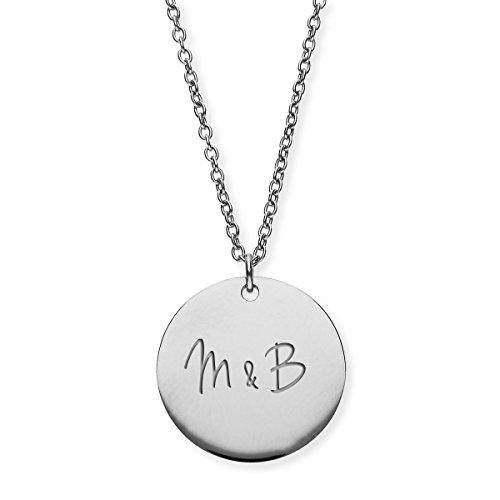 URBANHELDEN - Damen-Kette mit Wunschgravur Anhänger - Personalisierte Kette Amulett aus Edelstahl mit 2 Initialen - Big Silber G7