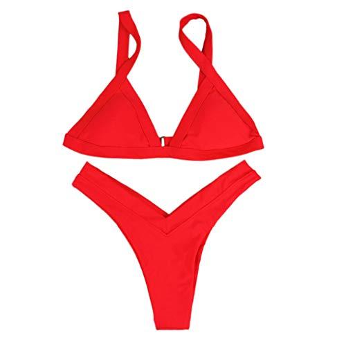Sannysis Bikini Damen Set Push Up Brasil Style V-Ausschnitt Swimwear Women Zweiteilige Bikini-Sets Bademode Schwimmanzug für Sommer Strand Urlaub Beach Sport Pool Party