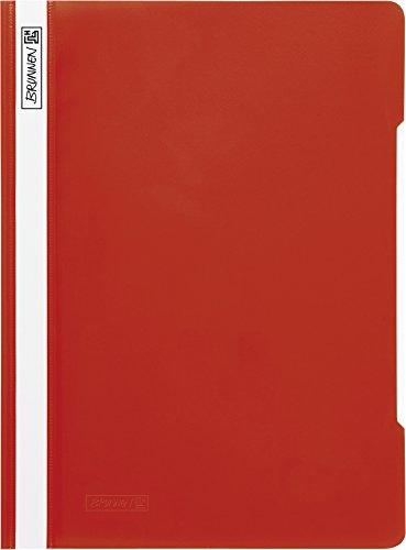Brunnen 102011020 Schnellhefter (A4, aus PVC, glasklares Deckblatt) rot