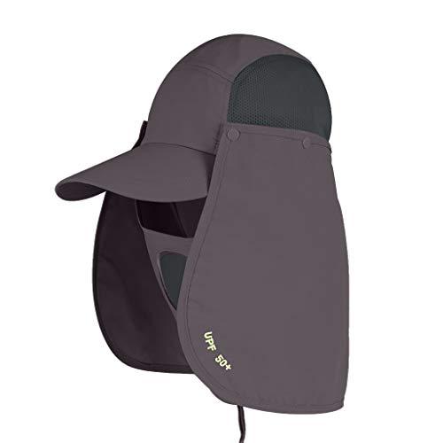 Damen Herren Outdoor Sonnenhut UV-Schutz Angeln Wandern Cap mit Gesicht Hals flach Baseball Hüte unter 5 Dollar dunkelgrau