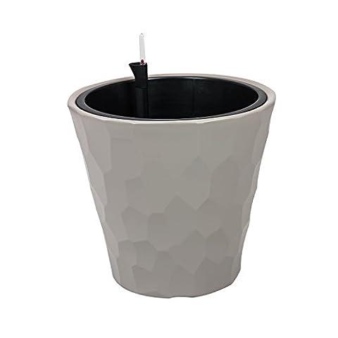 Cache-pot mocca marron Rocka 35 bac récipient plastique pot irrigation
