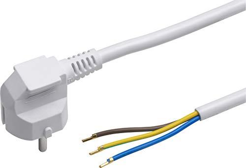Meister Schutzkontakt-Zuleitung - 3 Meter - weiß - Kunststoffleitung H05VV-F3G1,5 - 3 Adern - IP20 / Anschlussleitung mit Schuko-Stecker / Anschlusskabel / Installationsmaterial / 7434310 -