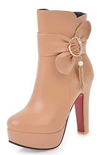 Easemax Damen Elegant Kurzschaft Schleife Quaste High Heels Stiefel Mit Absatz Aprikosen 37 (Girls Heel High Stiefel)
