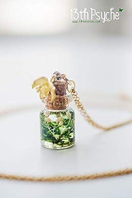 collier de mousse véritable, collier de flacon de mousse, collier de bouteille en verre, bijoux miniatures pour terrarium, collier délicat, bijoux botanique, bijoux naturels