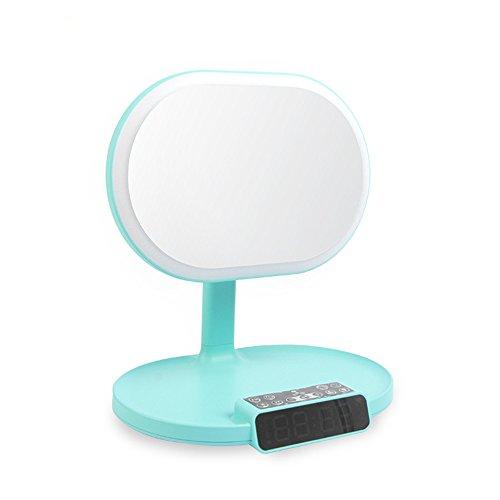 Illuminé Miroir De Maquillage Bluetooth Musique Lampe Alarme Affichage Stockage Minimaliste Cadeau,Green