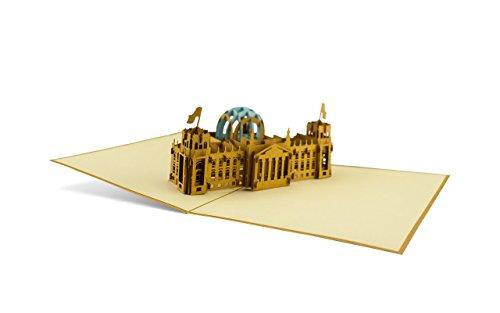 DIESE-KLAPPKARTEN® ARCHITETTURA - Carta di 3D Pop-Up | Vari motivi | Taglio laser | Fatto a mano | Carta di invito | Compleanno | Battesimo | Congratulazioni | Buono anniversario | Raccolta | Ringraziamento, Klappkarten Kategorien:A04 / Reichstag