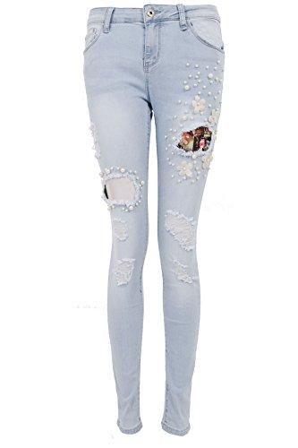 Saphir Boutique Damen Skinny distressed zerschlissene Jeans Perle Perlen Blume ausgeschnitten Jeans - Hell Denim, Medium / UK 10 / 38 - Jeans Zerschlissene