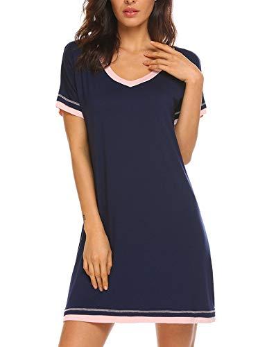 Lucyme Damen Kurz Nachthemd, 7025 Dunkelblau, EU 44(Herstellergröße: XXL)