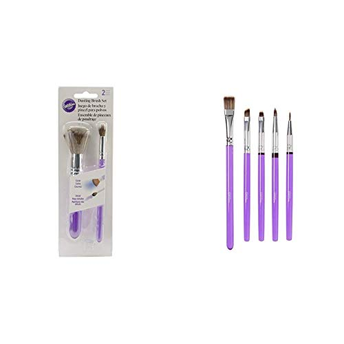 nsel zum Bestäuben, Kunststoff, Lila, 1.57 x 1.57 x 14.65 cm & Wilton Decorating Brush Set/5 Werkzeug, Kunststoff, violett, 0,89x11x27 cm, 5-Einheiten ()