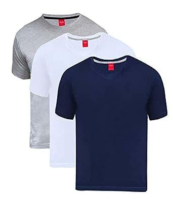 Scott Men's Basic Cotton Round Neck Half Sleeve Solid T-Shirts - Pack of 3-3RN-BU-GR-WH-S