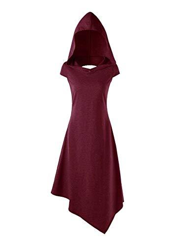 Vestido Túnica con Capucha Medieval Gotico Vestidos Casual para Mujeres Rojo XL
