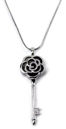 Edle Damenkette Kette Damen Strass Kette Rosen Schlüssel Kette mit Karabiner Verschluss Zirkonia Besatz in Silber