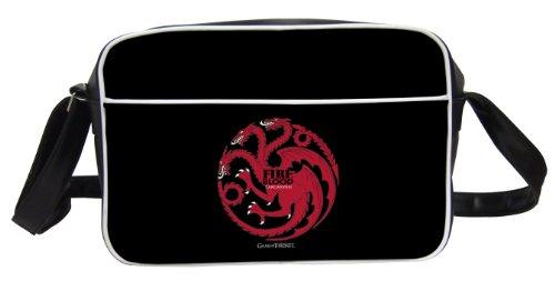"""Juego de Tronos - Bolso bandolera diseño Targaryen """"Fire and Blood"""", color negro (SD Toys SDTHBO02289)"""