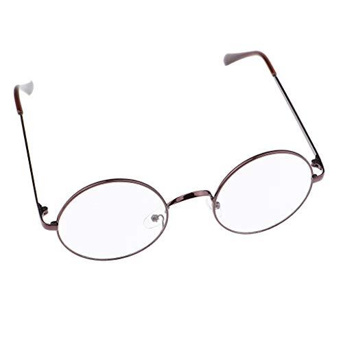 P PRETTYIA klassische Brille Metallgestell Brillenfassung Brille Dekobrillen - Kaffee