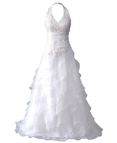 Romantic-Fashion Brautkleid Hochzeitskleid Weiß A-Linie Lang Satin Stickerei Perlen Pailletten DE...