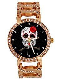 kull Damen-Armbanduhr Analog Quarz mit Kette Eule Armband Band Rose Gold Ton Edelstahl Lady Kleid Armbanduhr ()