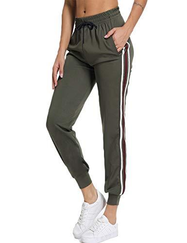 FITTOO Damen 2 Gestreift Streifen Freizeithose Jogginghose Hose Sportswear Style,Grün,M