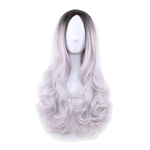 Luckhome langes lockiges Haarspitzen Kostüm Cosplay Perücke Sexy Frauen Cosplay Wellenförmige Lockige Synthetische Perücke Mode Gradient Lange Party Perücken(Weiß)