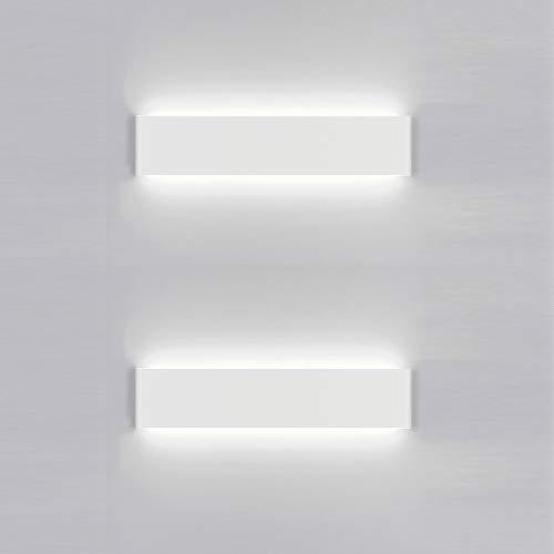 Yafido 2x Aplique Pared Interior LED 30CM Lámpara de pared 12W Blanco Frío para Salon Dormitorio Sala...