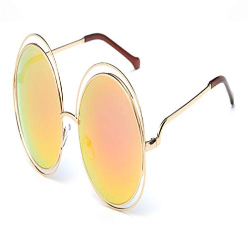 Sport-Sonnenbrillen, Vintage Sonnenbrillen, Vintage Round Big Size Oversized Lens Mirror Sunglasses Women Metal Frame Lady Sun Glasses Lady Cool Retro 7-Gold-Red