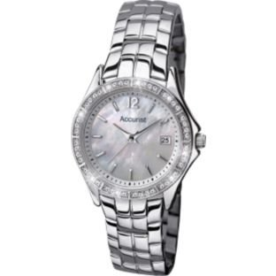 Accurist Stone Set White Dial Stainless Steel Bracelet Ladies Watch LB1518 Best Price and Cheapest