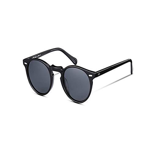 FGRYGF-eyewear2 Sport-Sonnenbrillen, Vintage Sonnenbrillen, Retro Round Polarized Sunglasses For Männer And WoMänner Vintage Driving Outdoor Gregory Peck Sun Glasses With Case black grey
