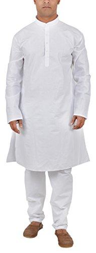 F.com Men's Cotton Kurta Pyjama (MAN-WHT-01K--44, White, 44)