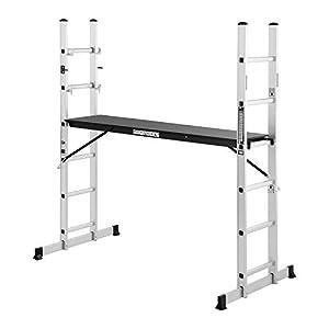 MSW Escalera Andamio De Aluminio MSW-AB150 (Multifunción Con Superficie De Trabajo, Plataforma De 147,5 x 40,5 cm Con Altura Variable, Carga Máxima: 150kg)
