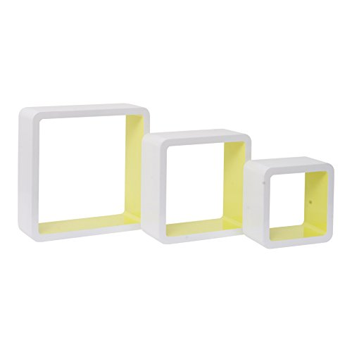 Mobili Rebecca® Lot de 3 Cube Bibliotheque de Rangement Bois Blanc Jaune Style Contemporain Decoration Maison (Cod. RE4870)