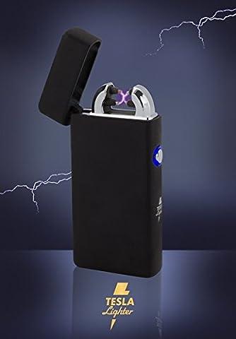 Tesla-Lighter T08 Lichtbogen Feuerzeug Elektro Double-Arc elektronisch wiederaufladbar. Aufladbar per USB mit Strom ohne Gas und Benzin. Mit Ladekabel in edler Geschenkverpackung Schwarz (Ein Ganz Besonderes Geburtstagsgeschenk)