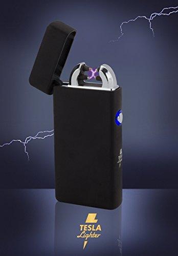TESLA Lighter T08 | Lichtbogen Feuerzeug, Plasma Double-Arc, elektronisch Wiederaufladbar, Aufladbar mit Strom per USB, Ohne Gas und Benzin, mit Ladekabel, in Edler Geschenkverpackung, Matt Schwarz