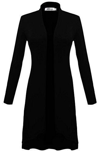 Meaneor Damen Lang Strickjacke Maxi Cardigan Jerseymantel Langarm Offen Asymmetrisch Loose Fit