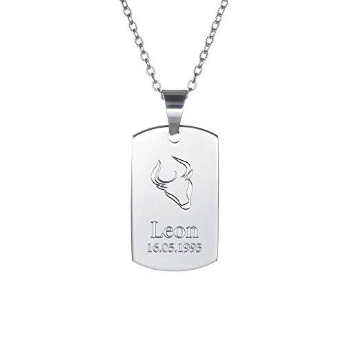 Kette mit Anhänger aus Edelstahl – Sternzeichen Stier - Dog Tag mit Gravur – Personalisiert mit Namen und Datum – Schmuck Geschenke für Männer und Frauen - ca. 4 x 2 cm + Kette 50 cm