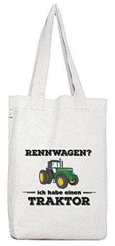Trecker Bio Baumwoll Jutebeutel Stoffbeutel Rennwagen - Traktor, Größe: onesize,White ()