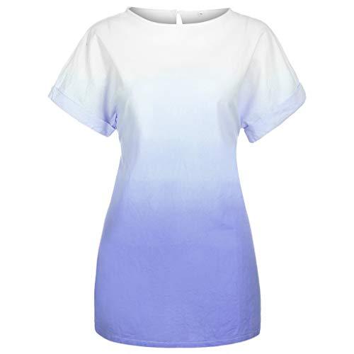 DIPOLA Damen Kleider Fashion O-Neck Kleid in Übergröße mit leicht bedruckbarem Kleid aus Baumwolle und Leinen mit Farbverlauf Partykleid