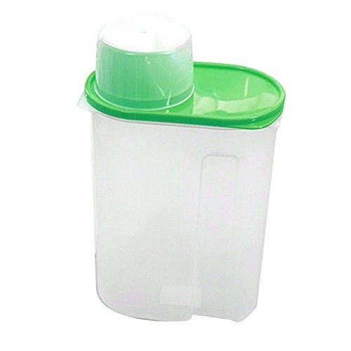 display08arroz granos de cereales dispensador de almacenamiento de alimentos secos contenedor tapa caja sellada