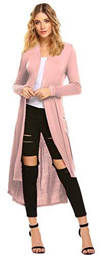 Damen Sommer Cardigan Elegant Blazer Leicht Dünn Längere Bolero Langarm Offene Jacke Rosa S
