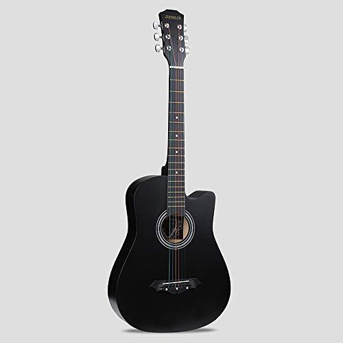 k-Akustikgitarre Hochwertige Buche Anfänger üben Young Boys Girls Gitarre mit Bag Strap String Tuner Capo Poliertuch ( Color : Black ) ()