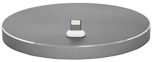 StilGut AirDock Oval - Edle Docking Ladestation iPhone und für Apple-Geräte mit Lightning-Anschluss. Design Docking-Station aus Aluminium für iPhone 8, iPhone 7, iPhone 6s, iPhone SE, Space Grey (Station Mouse)
