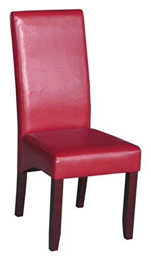 SAM® Polster-Stuhl 4726-25, Esszimmer-Stuhl in rot mit Samolux®-Bezug, massive kolonial-farbene Pinien-Holzbeine, Design-Stuhl für Küche und Esszimmer