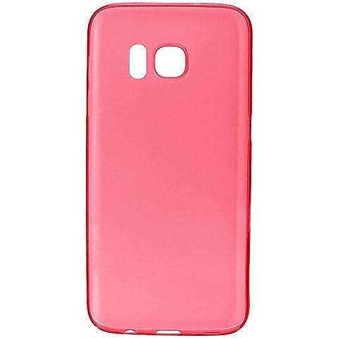 wanit UltraSlim Cover 0,3mm Custodia per Samsung Galaxy S7 Edge Protettiva Copertura Posteriore Completo Ultra Sottile Opaca TPU Policarbon Paraurti Glassato Clear (Rosso)