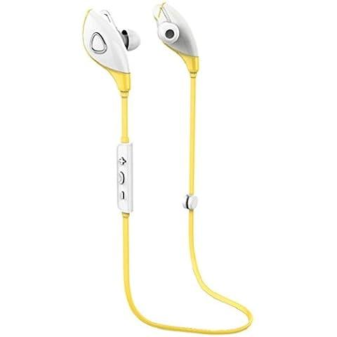 Amarillo,Koly Bluetooth estéreo inalámbrico Deportes Auriculares manos libres para el teléfono