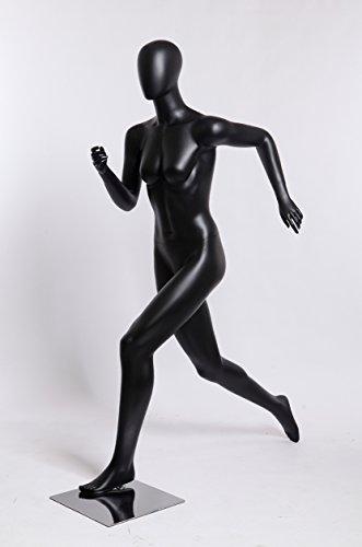 TonHan - Maniquí Deportivo para Mujer, Color Negro Mate