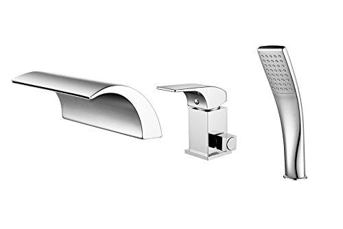 iMoebel Wannenrandarmatur 3-Loch-Badewanne wasserhahn Wasserfall Armatur Duschsystem Bad mit Handbrause Elegant Klassisch Duschsets,Silber - Wasserfall Badewanne
