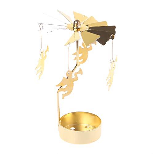 (FXCO Spinning Rotary Karussell Teelicht Kerzenständer Stand Licht Geschenk Hochzeit Dekor (Engel))