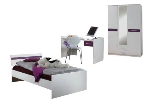 Wimex 302437 Appartement Jugendzimmer Vico bestehend aus Schrank 135 cm, Bett 90 x 200 cm und Schreibtisch, alpinweiß/ Absetzungen hochglanz brombeere