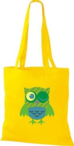 ShirtInStyle Jute Stoffbeutel Bunte Eule niedliche Tragetasche mit Punkte Karos streifen Owl Retro diverse Farbe, gelb